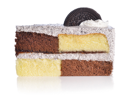 two tone: Cake two tone with cookie on white background Stock Photo