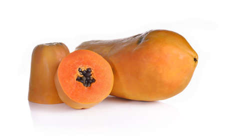 papaya and slice isolated on white background