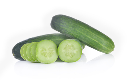 Cucumber and slices on white background Stock Photo