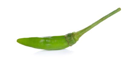 Thai green chili on white background