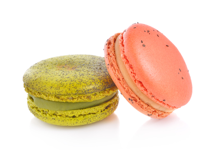 Colourful macaroons on white background, Dessert.