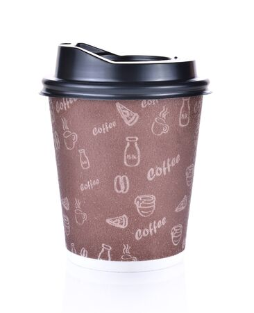 Paper cup of hot coffee on white background