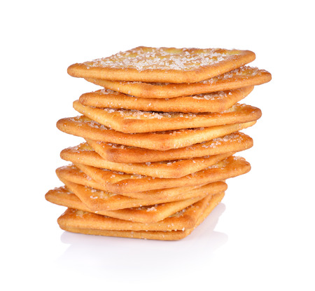 Crackers with sugar on white background