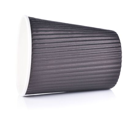 Black Paper cup of hot coffee on white background