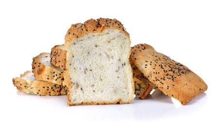Whole wheat bread on white background Stock Photo
