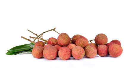 Lychee on white background