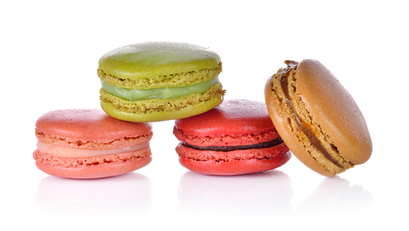 Colorful Magarons or Magaroons French dessert on white