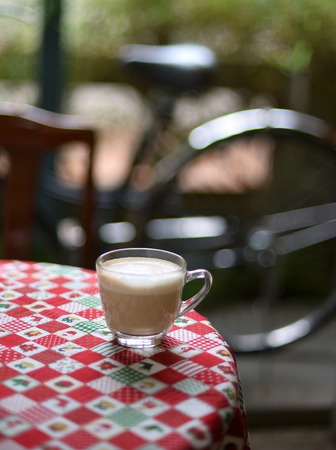 cappuccino coffee on table and morning Stock Photo