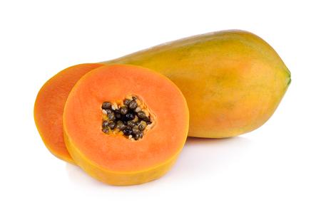 papaya and slice isolated on white background