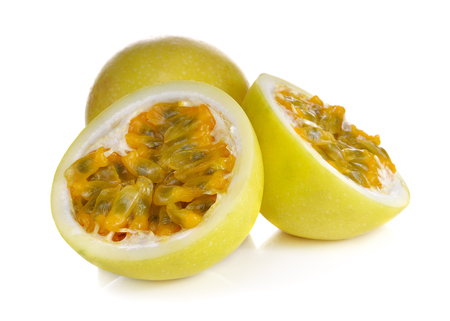 yellow passion fruit on white background
