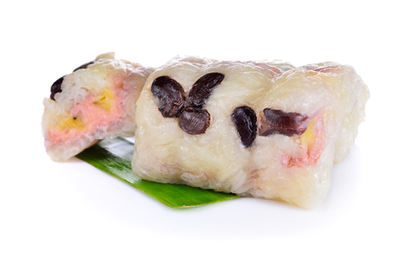 Sweet Thai sticky rice with banana ,Traditional Thai food style Stock Photo