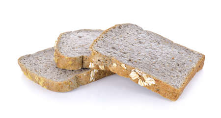 Whole wheat bread on white background Stock Photo