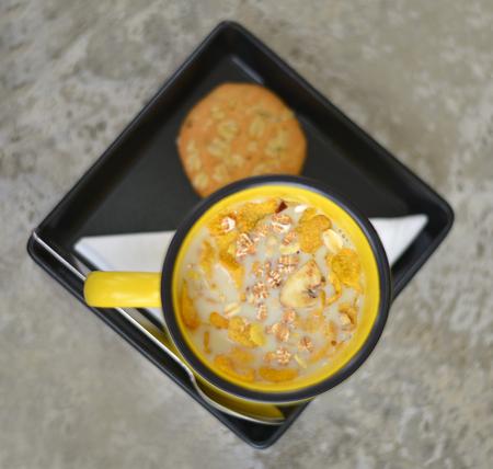 gezonde ontbijtgranen met sojamelk