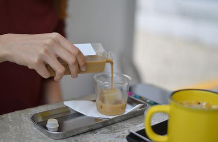 Barista mix ijskoffie Stockfoto