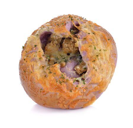 Chicken&Purple Potato Bun Stockfoto