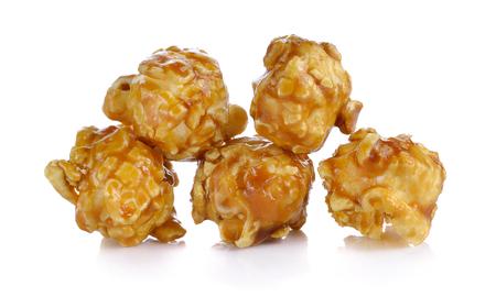 caramel popcorn on white background Stockfoto