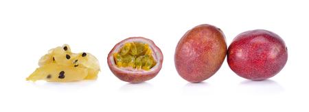 Dry passion fruit on white background Stockfoto