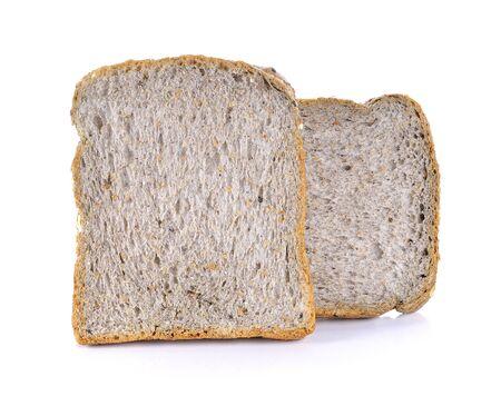 Whole wheat bread on white background Stockfoto