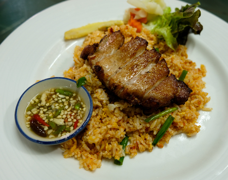 Chili fried rice with sweet pork