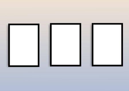 Maqueta de marco en blanco para pinturas o fotografías Ilustración de vector