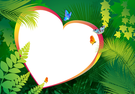 The heart is surrounded by green leaves