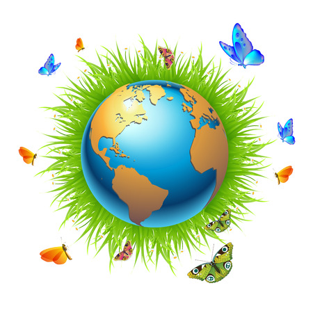 suitable: The world is surrounded by butterflies and grass Illustration