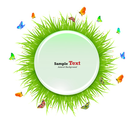 Butterfly grass Circle glass white background