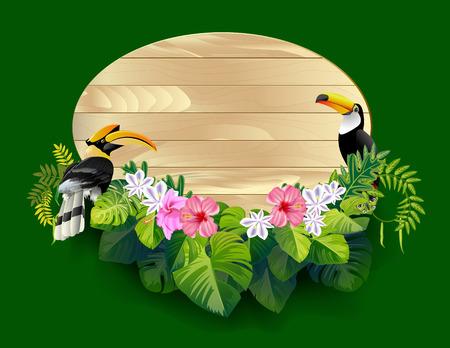 Leave with birds frame design. Illustration