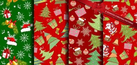 Set christmas patterns seamless vectors