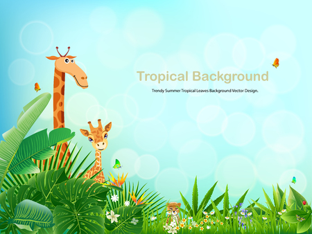 Tropical an animal island spring of beautiful plants green and adstract bachgrounds vectors design.