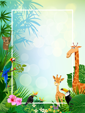 Conceptual living in the jungle with animal and green summer backgrounds illustration vectors.