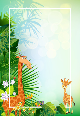 Conceptual design jungle of animal living in the  green summer backgrounds illustration vectors.