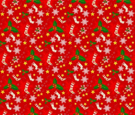Seamless Christmas pattern in red background.
