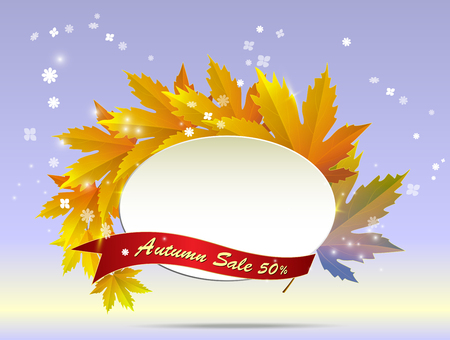 Big autumn sale calligraphy with illustration of bunch of maple and golden leaves.