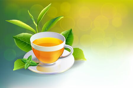 Black tea cup with mint isolated on Sunlight background. vector illustration.