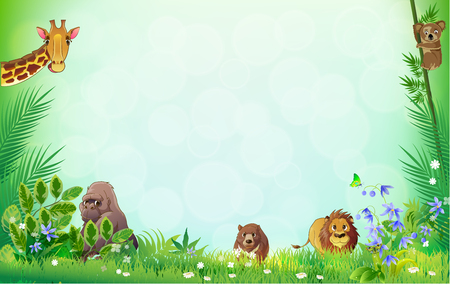 Jungle animals frame vector illustration Çizim