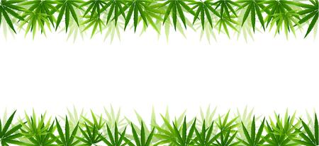 Frame gevormd met hennep (marihuana) bladeren geïsoleerd op een witte achtergrond. Vector illustratie. Vector Illustratie