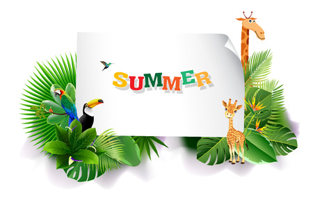 Jungle or Zoo Themed Animal Background. Field of fresh green grass palm, flower, Humming Birds are flying. Banco de Imagens - 97692305