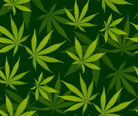 Cadre de marijuana Feuille verte et modèle sans couture de marijuana noire. Feuille de chanvre de cannabis marijuana en fond d'illustration vectorielle de couleur blanche.