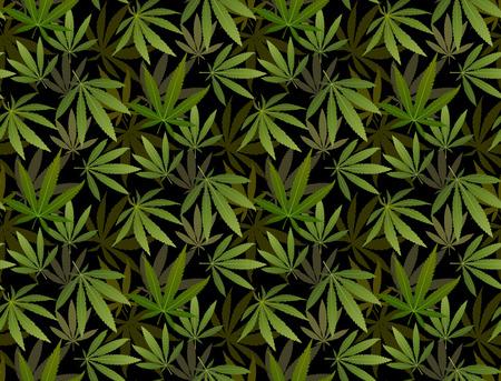 Marihuana Frame Green Leaf und schwarze Marihuana Shisha nahtlose Muster. Cannabis Marihuana Hanfblatt in weißer Farbe Vector Illustration Hintergrund.