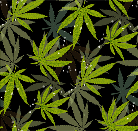 Marijuana Green Leaf and black drawing marijuana seamless pattern. Cannabis marijuana hemp leaf in white color Vector Illustration background. Stock Illustratie