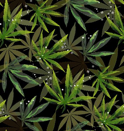 Marijuana Green Leaf and black drawing marijuana seamless pattern. Cannabis marijuana hemp leaf in white color Vector Illustration background. Vectores