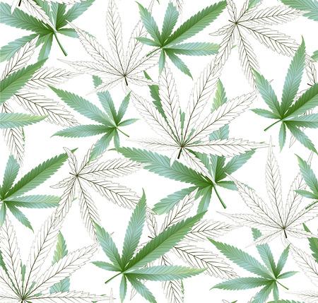 La marijuana laisse le modèle vectoriel continu. Fond vert de plante de cannabis. Végétation dense de ganja. Vecteurs