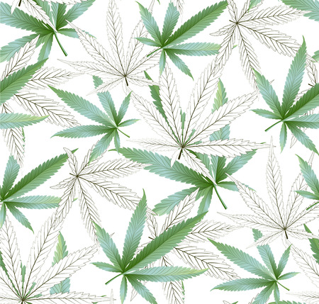 Marijuana leaves seamless vector pattern. Cannabis plant green background. Dense vegetation of ganja. 版權商用圖片 - 112231593