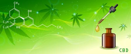 Vector green cannabis oil. CBD Oil bottle. Marijuana leaf label. Panorama Poster Template Graphics Illustrator. Hemp oil in a bottle. Standard-Bild - 120180487