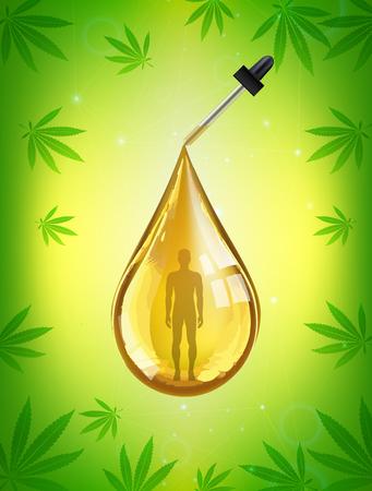 Marijuana and cannabis oil bottles vector. Green Marijuana Leaves, Cannabis leaf, pills and capsules.