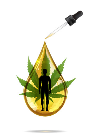 Marijuana and cannabis oil drop vector. Green Marijuana Leaves, Cannabis leaf, pills and capsules.