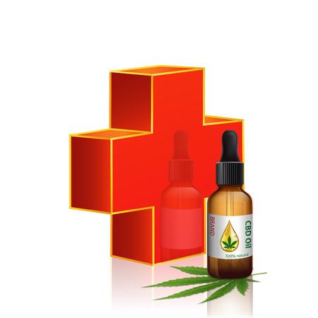 Vector de botellas de aceite de cannabis y cruz roja. Hojas de marihuana verde, hojas de cannabis, píldoras y cápsulas. Ilustración de vector