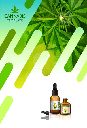 Marijuana concept and cannabis oil and legislation social issue as medical and recreational weed usage on white background symbols in a 3D illustration style.