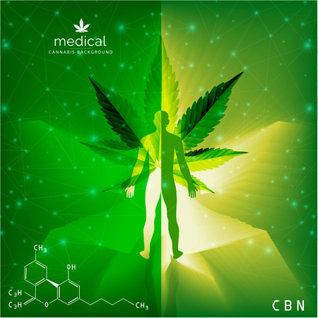 Marijuana concept and cannabis and legislation social issue as medical and recreational weed usage on green background symbols in a 3D illustration style. Standard-Bild - 120180971